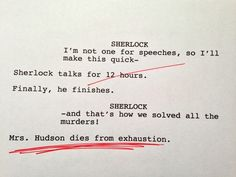 BBC Sherlock Rough Drafts