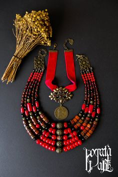 Traditional necklace in Ukrainian style with dukach