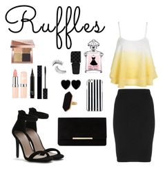 """""""So chic Ruffles"""" by leafashionpro ❤ liked on Polyvore featuring Manon Baptiste, Dune, MICHAEL Michael Kors, Dollydagger, Jaeger, Gucci, Trish McEvoy, Bobbi Brown Cosmetics and ruffles"""