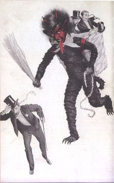 Giant Krampus apparently goes after naughty gentlemen.