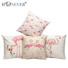 Stylish Flamingo Cushion Cover Cotton Linen Throw Pillow Case Birds Cushion Covers Sofa Bed Decor-in Cushion Cover from Home & Garden on Aliexpress.com | Alibaba Group