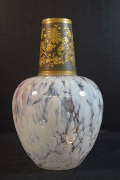 Antique Harrach Bohemian Art Glass Vase Mottled and Gilt Enamel in Pottery & Glass, Glass, Art Glass, Bohemian, Czech, Other Bohemian/Czech Art Glass   eBay
