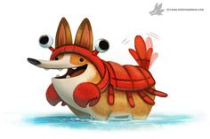 Daily Painting #915 - Corgi Lobster by Cryptid-Creations.deviantart.com on @DeviantArt