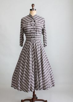 Vintage Late 1940s Marie Phillips Winter Dress