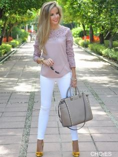 Shop Rosey Brown Crochet Lace Panel Long Sleeve Blouse from choies.com .Free shipping Worldwide.$13.9