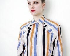 Vintage shirt / 80s striped shirt / size M L by nemres on Etsy