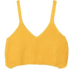 Yellow V Neck Knitted Cami Crop Top (125 SEK) ❤ liked on Polyvore featuring tops, yellow crop top, v neck camisole, yellow cami, v neck tank and crop tank