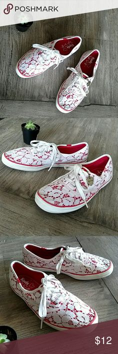 Taylor Swift Lace Keds Red and white Taylor Swift Lace Keds. Light wear and some light color bleeding noted (See up close pics). Keds Shoes Flats & Loafers