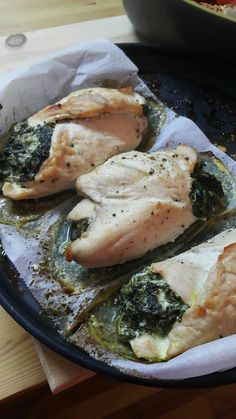 Spinach and cream cheese stuffed chicken breasts