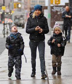 Naomi Watts walks her boys Alexander and Samuel to school in New York City on Nov. 12, 2013.