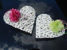Svatební dekorace,výzdoba auta-ratanové srdce 2ks