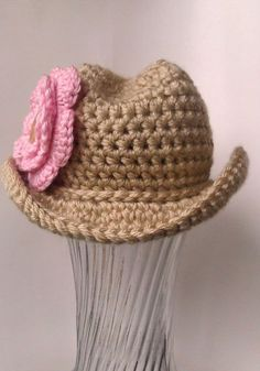 Crochet Cowboy Hat - Newborn, Infant.  @Samantha Pope I will be asking you to make one of these for my little one, one day :)