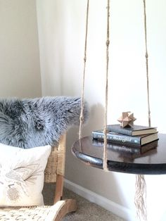 Hanging Side Table/ Floating Night Stand/Macrame End Table/Floating Table/Hanging Table/Hanging Rope Table/Floating Side Table/Nightstand by Eastknits on Etsy https://www.etsy.com/listing/241577668/hanging-side-table-floating-night