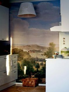 Wall mural in a tiny kitchen