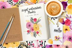 Bright Watercolour Flowers by Webvilla on Creative Market