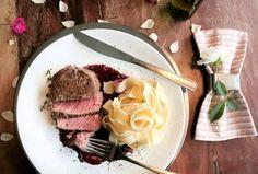 Tornedor de miolo de alcatra com molho de vinho e tagliatelle na manteiga Foto: Maria Capai