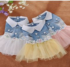 pet dog dress small dog clother spring and autumn jean skirt pet clothes for…