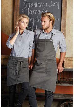 Női kötény, farmer hatás More Work Aprons - uniform Cafe Uniform, Waiter Uniform, Hotel Uniform, Staff Uniforms, Work Uniforms, Kellner Uniform, Bartender Uniform, Bib Apron, Uniform Design