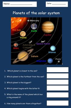 Simple planets worksheet - A simple worksheet for ASD pupils with a diagram of the solar system.