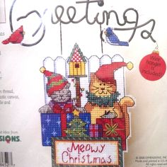 Meowy Christmas Greetings Wire Welcome Counted Cross Stitch Kit 8652 Dimensions #Dimensions #ChristmasOrnamentDecoration
