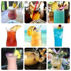 9 Hawaiian Luau Drink Recipes:  1. Lava Flow  2. Tropical Itch  3. Blue Hawaiian  4. Mai Tai - 1  5. Mai Tai - 2  6. Blue Hawaii  7. Pink Mai Tai  8. Luau Champagne Punch- 1  9. Luau Champagne Punch- 2
