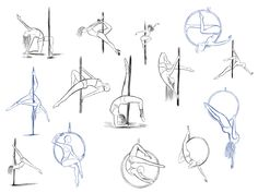 Motion sketch study of female pole dancing. Body Sketches, Art Drawings Sketches, Drawing Base, Figure Drawing, Desenhos Tim Burton, Drawing Body Poses, Dancing Drawings, Drawing Expressions, Poses References