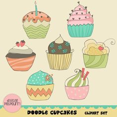cupcakes clipart set - doodle cupcakes retro style 1
