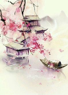 Japanese Watercolor, Pastel Watercolor, Watercolor Landscape, Watercolor Paintings, Watercolor Japan, Watercolor Artists, Watercolor Background, Oil Paintings, Painting & Drawing