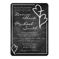 Shop Two Hearts Cross Religious Wedding Invitations created by jdlhammond. Heart Wedding Invitations, Wedding Invitation Design, Custom Invitations, Religious Wedding, Chalkboard Background, Two Hearts, Beautiful Textures, White Envelopes, Save The Date