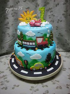 Cake for little boy , cars,train,aero Little Boys, Cake Decorating, Birthday Cake, Train, Cars, Desserts, Food, Tailgate Desserts, Deserts