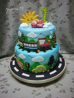 Cake for little boy , cars,train,aero