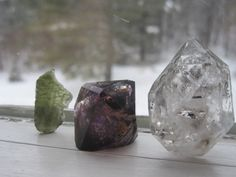 All good!  Attached you will find the #Moldavite, #Super #Seven and #Herkimer #crystals (beautiful leather pouch included as well!) #esty Vanessa Valente Crystals v2Crystals Vanessa Valente