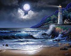 Imagen Natural, Lighthouse Pictures, Lighthouse Painting, Ocean Wallpaper, Computer Wallpaper, Beautiful Moon, Am Meer, Ocean Art, Beach Art