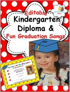 Click now to instantly download your Pre-K, Kinder or 1st grade editable diplomas and activities. Parents will love these cute diplomas and your exciting program activities for graduation day. This valuable package helps teachers to quickly prepare for graduation day and includes:            *11 Instant Editable Graduation Diplomas*3 Graduation Poems*Editable Graduation Check List*Parent Invitations*Parent Note for speaker parts for their child*Fun Graduation Songs*Easy Dances for…
