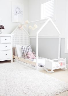 twin toddler room with hand constructed bed (materials only $30.00 for frames)