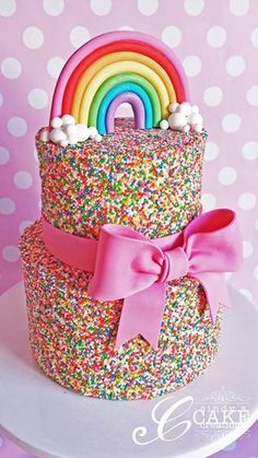 Rainbow sprinkles cake. Would be a fun cake for a rainbow or unicorn themed (just add a unicorn) birthday party, or for any kid's birthday parties