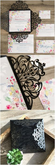 chic spring floral with black laser cut pocket wedding invitations