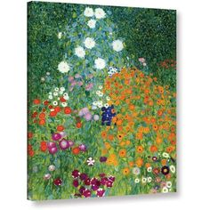 Gustav Klimt Farm Garden Gallery-Wrapped Canvas Art, Size: 14 x 18, Orange