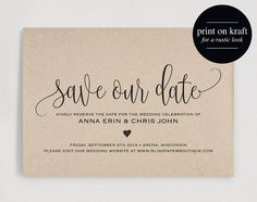 This listing is for a Rustic Kraft Save our Date PDF INSTANT DOWNLOAD. Purchase this listing to receive a high resolution 5X7 PDF INSTANT