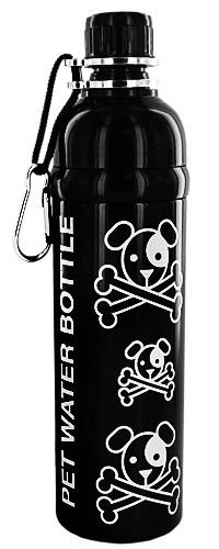 BPA free doggy H2O bottle - Skull & Bones Pet Water Bottle at The Animal Rescue Site