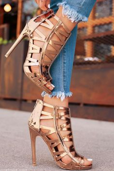 """Captivated By You""Rose Gold Heels by lolashoetique"