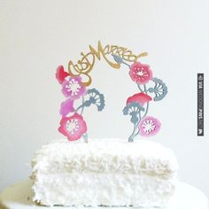 Hand Painted Whimsical Cake Topper from Madeline Trait | CHECK OUT MORE IDEAS AT WEDDINGPINS.NET | #weddingcakes