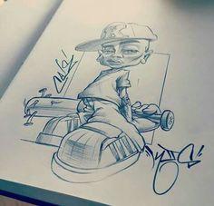 Skate in the street Graffiti Drawing, Street Art Graffiti, Arte Lowrider, Graffiti Characters, Desenho Tattoo, Hip Hop Art, Graffiti Alphabet, Chicano Art, Art Sketchbook