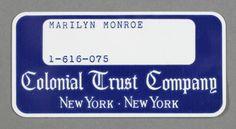 MARYLIN MONROE Carte de Banque originale de Marilyn Monroe de la Colonial Trust Company of New York, portant le nom Marilyn Monroe avec le numéro de compte 1-616-075 aux alentours de 1958