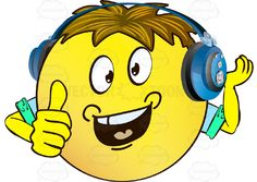 Dimpled, Open-Mouth Yellow Smiley Face Emoticon With Arms, Brown Hair and Headphones One Hand Raised Cupped, Other Thumbs Up, Arms Wearing Rolled Up Sleeves #approval #arms #assured #bold #boss #brash #cocky #computer #confident #emotion #expert #expression #eyes #face #feeling #fist #handgesture #hands #icon #important #like #mood #ok #okay #outgoing #PDF #self #signal #smiley #sure #vectorgraphics #vectors #vectortoons #vectortoons.com