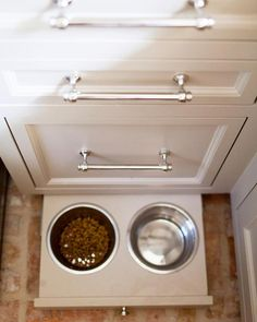 Pull out drawer with built-in dog food bowls