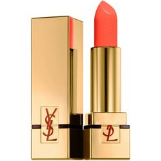 Yves Saint Laurent Beauty Women's Rouge Pur Couture Satin Radiance... (670 MXN) ❤ liked on Polyvore featuring beauty products, makeup, lip makeup, lipstick, beauty, lips, cosmetics, coral, filler and yves saint laurent lipstick