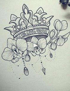 Crown tattoo/Korona tetoválás Drawing Tips crown drawing Mother Tattoos, Mother Daughter Tattoos, Tattoos For Daughters, Crown Tattoo Design, Flower Tattoo Designs, Flower Tattoos, Tattoo Crown, Tattoo Sketches, Tattoo Drawings