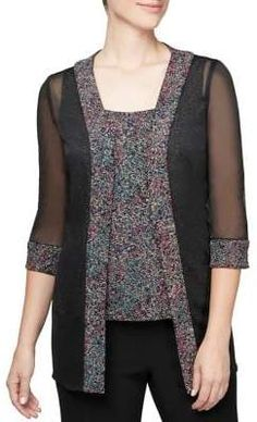 Shop a great selection of Alex Evenings Women's Plus Size Printed Twinset Tank Top Jacket. Find new offer and Similar products for Alex Evenings Women's Plus Size Printed Twinset Tank Top Jacket. Long Sleeve Tops, Long Sleeve Shirts, Alex Evenings, Long Kimono, Autumn Fashion Casual, Calvin Klein Women, Plus Size Women, Jackets For Women, Tunic Tops