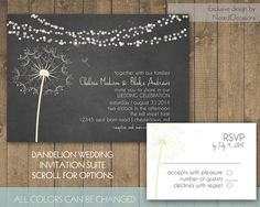 Dandelion Wedding Invitations Modern and Simple Rustic Floral Dandelion Printable Wedding Invitation- you choose all colors by NotedOccasions, $45.00